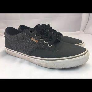 Vans Lace Up Black Grey Leather & Canvas Size 9